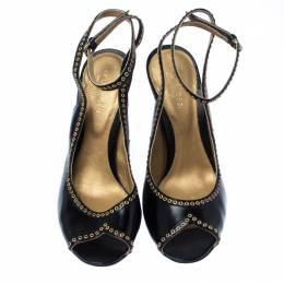 Sergio Black Eyelet Leather Peep Toe Slingback Sandals Size 38 Sergio Rossi 231735