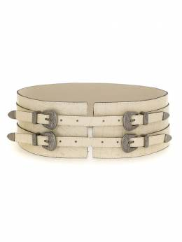 Olympiah four buckles wide leather belt 219932