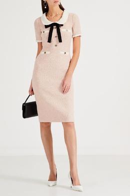 Розовое платье из фактурной ткани Gucci 470160209