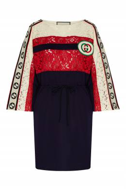 Платье с логотипами и кружевной вставкой Gucci 470160194