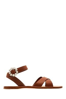 Коричневые сандалии с пряжкой из кристаллов Miu Miu 375160493