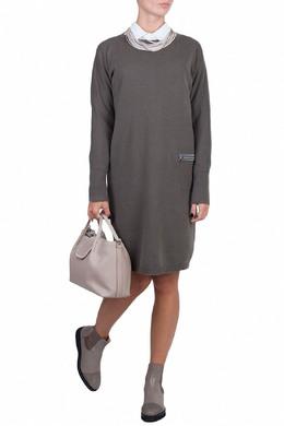 Темно-серое платье из смешанного трикотажа Fabiana Filippi 2658160636