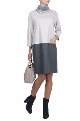 Двухцветное платье с вязаным воротником Fabiana Filippi 2658160632