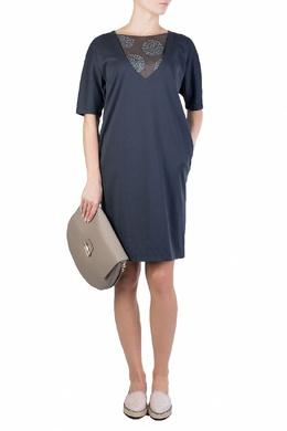 Синее платье с прозрачной вставкой Fabiana Filippi 2658160374