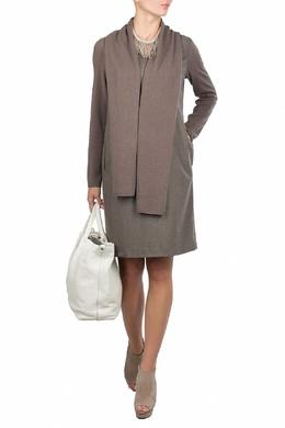 Светло-коричневое платье с трикотажными рукавами Fabiana Filippi 2658160433