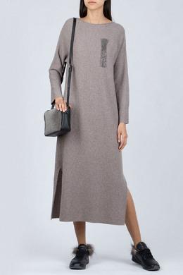 Серое платье из трикотажа с пайетками Fabiana Filippi 2658160464