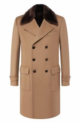 Кашемировое пальто с меховой отделкой Dolce & Gabbana G007YZ/FU2D1
