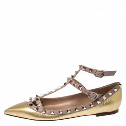 Valentino Gold Leather Rockstud Ankle Strap Ballet Flats Size 37 236110