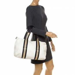 Tom Ford White/Dark Brown Leather Boston Bag 233181