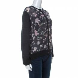 Salvatore Ferragamo Charcoal Grey Knit and Floral Printed Silk Cardigan XL 233087