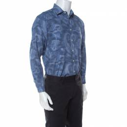 Etro Blue Paisley Print Cotton Long Sleeve Button Front Shirt L