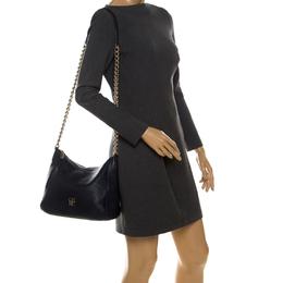 Carolina Herrera Navy Blue Pebbled Leather Maria Shoulder Bag 233528