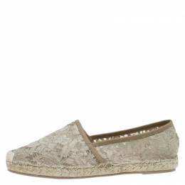 ValentinoBeige Lace and Leather Espadrilles Size 40 81991