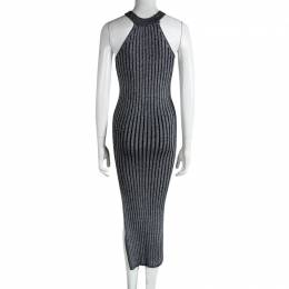 Brunello Cucinelli Silver Rib Knit Sleeveless Bodycon Dress XS 87727