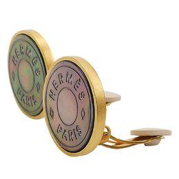 Hermes Clous De Selle Metal Pierced Earrings