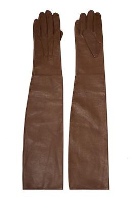 Бежевые кожаные перчатки Chapurin 778160149