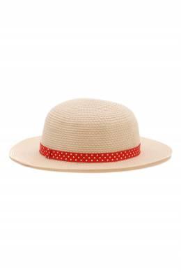 Бежевая шляпа с декоративной красной лентой Miki House 3018160158