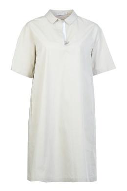 Прямое бежевое платье Fabiana Filippi 2658160358