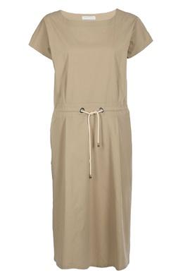 Серо-бежевое платье с короткими рукавами Fabiana Filippi 2658160404