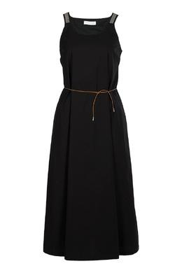 Черный хлопковый сарафан с пышной юбкой Fabiana Filippi 2658160407
