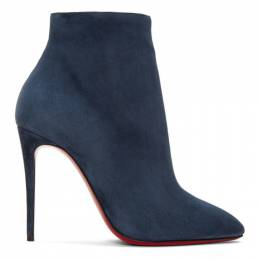 Christian Louboutin Blue Suede Eloise 100 Boots 192813F11300506GB