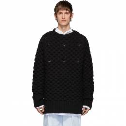 Raf Simons Black Wool Piercing Honey Stitch Sweater 192287M20100302GB