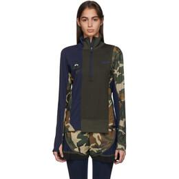 Nike Green and Navy Sacai Edition NRG Half-Zip Running Jacket CD6308-355