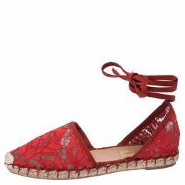 Valentino Red Floral Lace Espadrille Ankle Wrap Flats Sandals Size 36 234779
