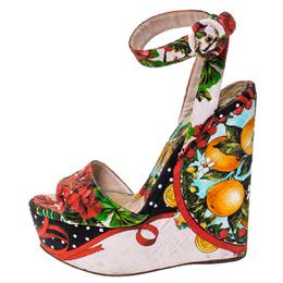 Dolce & Gabbana Multicolor Floral Printed Fabric Foulard Platform Wedge Sandals Size 38