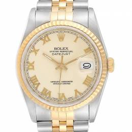 Rolex Ivory Cream 18K Yellow Gold and Stainless Steel Datejust 16233 Men's Wristwatch 36MM 237877