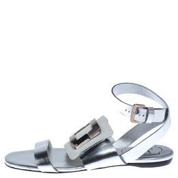 Roger Vivier Metallic Silver/White Leather Chips Embellished Flat Sandals Size 35.5