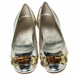 Gucci Silver/Gold Leather Bamboo Horsebit Ballet Flats Size 37.5 237642