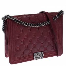 Chanel Red Quilted Button Nubuck Leather Large Boy Flap Bag 234508