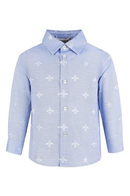 Голубая рубашка с голубыми пчелами для малыша Gucci Kids 1256160335
