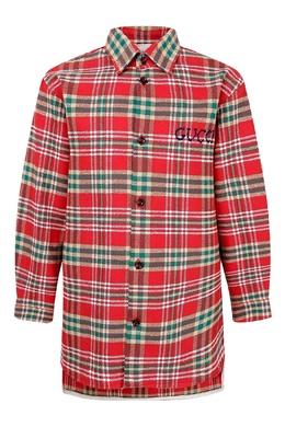 Клетчатая рубашка в красно-зеленых тонах Gucci Kids 1256160336
