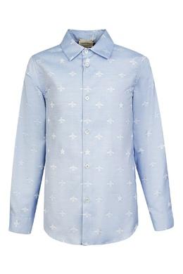 Голубая рубашка с голубыми пчелами Gucci Kids 1256160331
