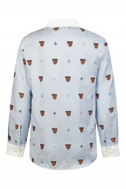 Голубая рубашка с орнаментом из звериных мордочек Gucci Kids 1256160332
