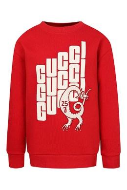 Свитшот из красного трикотажа с белым надписями Gucci Kids 1256160319
