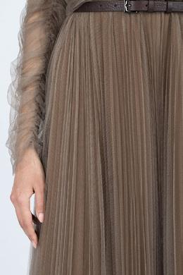 Серо-коричневое шифоновое платье в пол Fabiana Filippi 2658160910