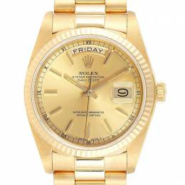 Rolex Champagne 18K Yellow Gold President Day-Date 18038 Men's Wristwatch 36MM 237909