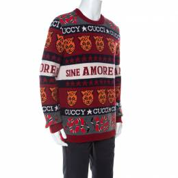 Gucci Red Wool Tiger Snake Striped Sweater S 238430