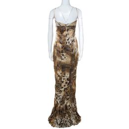 Just Cavalli Multicolor Animal Print Satin Pleated Hemline Sleeveless Dress L 234654