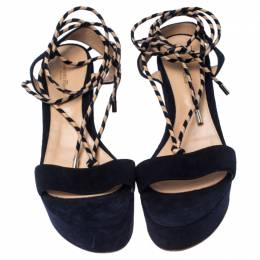 Gianvito Rossi Navy Blue Suede Open Toe Ankle Wrap Wedge Sandals Size 35 234823