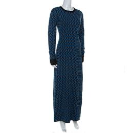 Marni Multicolor Jacquard Knit Long Sleeve Maxi Dress M 234648