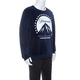Gucci Navy Blue Velvet Paramount Printed Sweatshirt M 238472