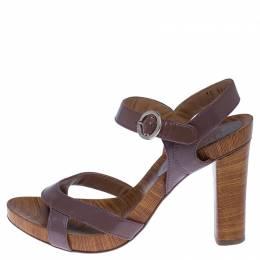 Salvatore Ferragamo Brown Leather Ankle Strap Sandals Size 38.5 238062