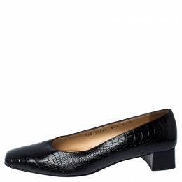 Salvatore Ferragamo Black Crocodile Embossed Leather Block Heel Pumps