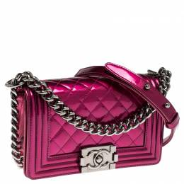 Chanel Magenta Patent Leather Small Boy Flap Bag 238564