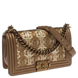 Chanel Gold Leather CC Cutout Medium Boy Flap Bag 238566