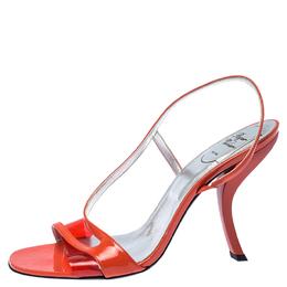 Roger Vivier Orange Patent Leather Strap Slingback Sandals Size 41